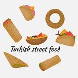 Alimentos de preparación rápida turcos, comida tradicional de la calle, cocina turca ilustración del vector