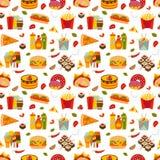 Alimentos de preparación rápida y modelo inconsútil del streetfood Fotografía de archivo libre de regalías
