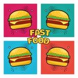 Alimentos de preparaci?n r?pida Fije de iconos del cheeseburger Ilustraci?n del vector ilustración del vector