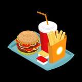 Alimentos de preparación rápida en la bandeja Hamburguesa y bebida Patatas fritas Salsa de tomate Imagen de archivo