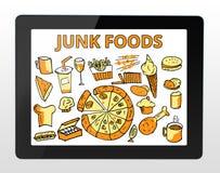 Alimentos de sucata com tabuleta Imagens de Stock Royalty Free