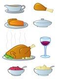 Alimentos do jantar do feriado Foto de Stock