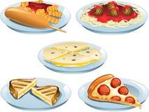 Alimentos do menu das crianças ilustração stock