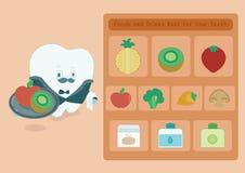Alimentos e bebidas do menu para os dentes ilustração do vetor