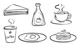Alimentos e bebidas para o café da manhã ilustração royalty free