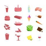 Alimentos e grupo de elemento liso do projeto da obesidade Fotos de Stock Royalty Free