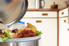 Alimentos frescos na lata de lixo para ilustrar o desperdício Fotos de Stock Royalty Free