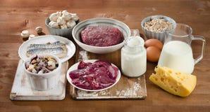 Alimentos o mais altamente na vitamina B12 (cobalamina) Fotografia de Stock