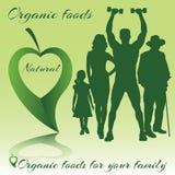Alimentos orgânicos para famílias ilustração do vetor