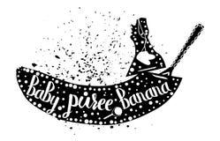 Alimentos para niños del plátano en un fondo blanco Puré del bebé Vector Imagenes de archivo