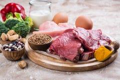 Alimentos para os músculos de construção imagem de stock