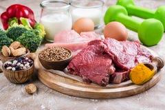Alimentos para os músculos de construção fotografia de stock