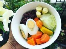 Alimentos saudáveis realizar branco da bacia em minha mão no quintal fotos de stock royalty free