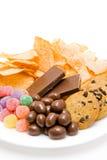 Alimentos sem valor nutritivo na placa Fotos de Stock Royalty Free