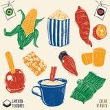 Alimentos típicos do partido de junho do brasileiro - colora o estilo do bloco xilográfico Fotos de Stock Royalty Free