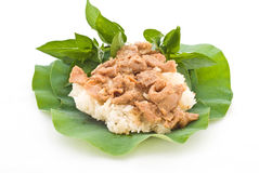 Alimentos tailandeses, carne de porco agitada com arroz pegajoso Fotos de Stock Royalty Free