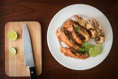 Alimentos tailandeses: lagosta salteado com pimentões, alho e Tha Fotografia de Stock