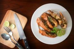 Alimentos tailandeses: lagosta salteado com pimentões, alho e Tha Imagens de Stock Royalty Free