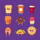 Aliments de préparation rapide d'amusement Plats avec les visages mignons, heureux Photo stock