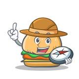 Aliments de préparation rapide de caractère d'hamburger d'explorateur illustration stock
