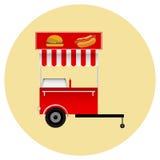 Aliments de préparation rapide de chariot mobile Images stock