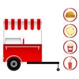 Aliments de préparation rapide de chariot mobile Photos stock