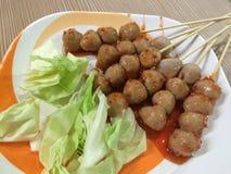 Aliments de préparation rapide grillés Thaïlande de grande boulette de viande Images stock