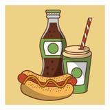 Aliments de préparation rapide de hot-dog combinés Photographie stock libre de droits
