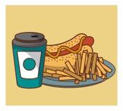 Aliments de préparation rapide de hot-dog combinés Photographie stock