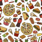 Aliments de préparation rapide Modèle sans couture dans le style de griffonnage et de bande dessinée coloré illustration stock