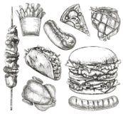 Aliments de préparation rapide, croquis, dessin de main Photographie stock