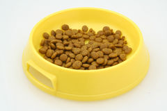 Aliments pour chats sur le blanc Photographie stock libre de droits