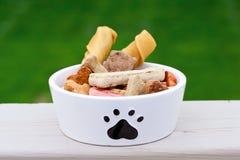Aliments pour chiens dans la cuvette de crabot Image stock