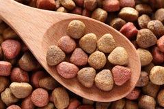 Aliments pour chiens dans une cuillère en bois Photo libre de droits