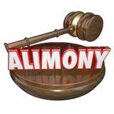 Alimenty 3D słowa sędziego młoteczka sprawy sądowej Legalna ugoda Obrazy Royalty Free