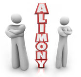 Alimony 3D Word Divorced Couple Ex Husband Wife Royalty Free Stock Photography