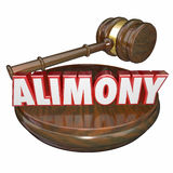Alimony 3D Word Judge Gavel Legal Court Case Settlement. Alimony word in 3d letters with a judge's gavel as a legal settlement in case of ex husband and wife Royalty Free Stock Images