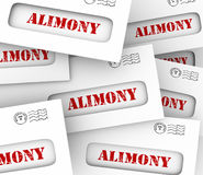 Alimony Envelopes Payments Spousal Support Legal Obligation. Alimony words on many envelopes as legally required or agreed upon financial obligation and spousal Stock Photos
