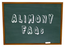 Alimony FAQs Frequently Asked Legal Questions Chalkboard. Alimony FAQs words on a chalkboard as answers to questions on financial spousal support for ex husbands Stock Images