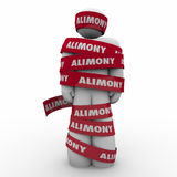 Alimony Man Wrapped in Red Tape Caught Trapped Ex Wife Spousal S. Alimony word on red tape wrapped around ex husband owing spousal support to wife as legal stock illustration