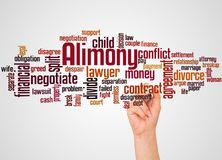 Alimony word cloud and hand with marker concept. On gradient background royalty free stock photos