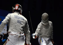 Alin Badea. Romanian Fencer Alin Badea, pictured in action during his game against Iulian Teodosiu counting for the Romanian National Men Fencing Championship Stock Photos