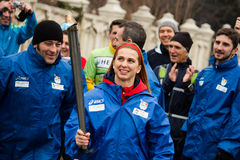Alina Dumitru with the olympic torch Royalty Free Stock Image