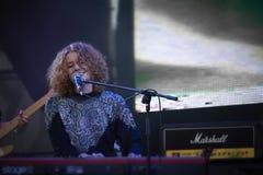 Alina Orlova bij solo overlegt bij Zaxidfest-festival stock foto