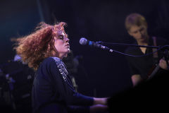 Alina Orlova bij solo overlegt bij Zaxidfest-festival royalty-vrije stock foto's