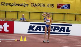 Alina Shukh Ukraina na IAAF Światowych U20 mistrzostwach w Tampere, Finland2-18 Zdjęcie Royalty Free