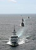 Aline военного корабля в образовании Стоковое Изображение RF