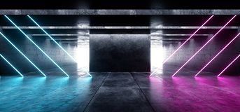 Alinea brillar intensamente cinemático azul del espacio del Grunge de las luces de neón del laser del garaje del túnel de la púrp stock de ilustración