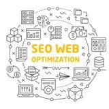 Alinea la optimización del web del seo del círculo del ejemplo de los iconos libre illustration