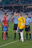 Alineación inicial de los jugadores durante la liga Córdoba del partido (W) contra Numancia (r) (1-0) en el Stadiu municipal Imagenes de archivo